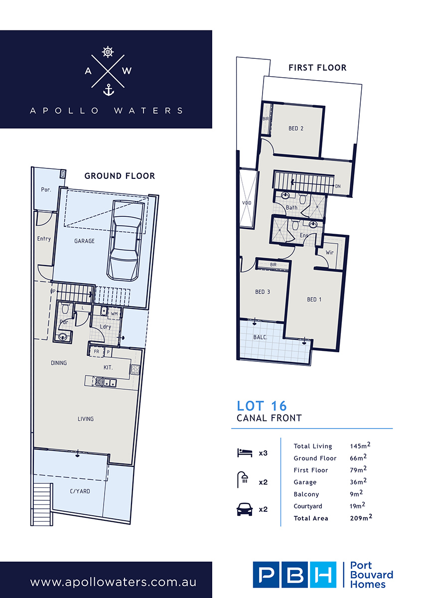 Building Designs for Apollo Waters homes with canal & street frontage
